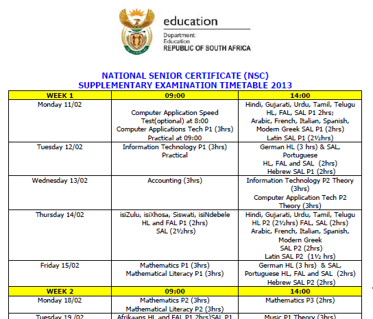 2233 NSC Supplementary Exam Timetable 2013