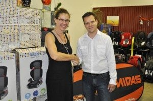 (left to right) Peggie Mars, Director of Wheel Well; Michael Turnbull, Marketing Manager for Midas Group