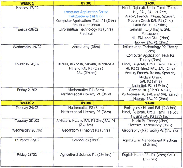 wk1 NSC Supplementary Exam Timetable 2014